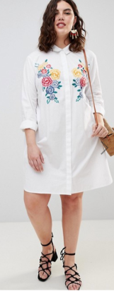 ASOS DESIGN Curve Cotton Shirt Dress with Embroidery ($66.66) - via ASOS