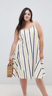 ASOS DESIGN Curve Stripe Swing Trapeze Midi Sundress With Lace Up Back ($58.33) - via ASOS