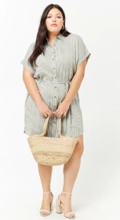 Plus Size Pinstriped Shirt Dress ($30.90) - via Forever 21
