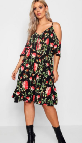 Plus Amie Floral Print Cold Shoulder Dress ($46) - via Boohoo