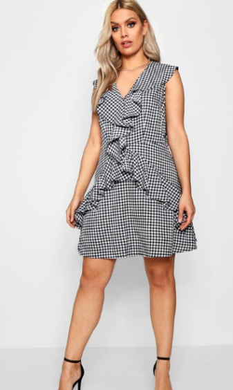 Plus Faith Gingham Ruffle Dress ($27) - via Boohoo