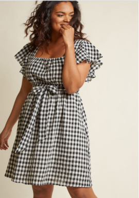 Flutter Sleeve Cotton A-Line Dress with Pockets in Gingham ($79) - Modcloth