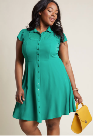 Dapper Dance Partner Shirt Dress in Jade ($49.99) - Modcloth